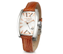 Panorama Armbanduhr aus Perlmutt und Edelstahl