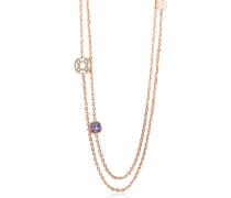 Seventies - 18 KT Lange Halskette aus Rosegold und Bronze