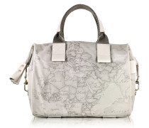 Free Spirit Softy Ash Gray Fabric and Leather Satchel Bag