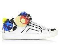 Multicolor Sneaker aus weißem Leder
