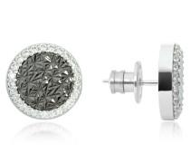 R-Zero Rhodium Over Bronze Stud Earrings w/Stones