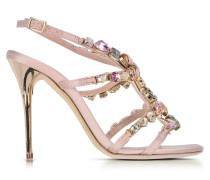 Imogene High Heel Sandale aus Satin in nude mit Kristallen