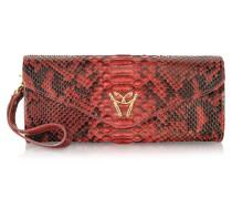 Red Python Leather Clutch w/Wristelet