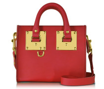 Coral Red Albion Saddle Leather Box Tote Bag