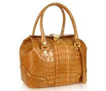 Sandfarbene Handtasche aus Leder mit Krokodilprägung