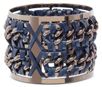 Gunmetal Brass and Navy Blue Leather Large Bangle in Fumoso