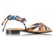 Navy Sky Blue and Mandarin Silk and Leather Flat Sandal
