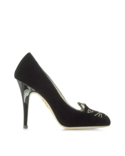charlotte olympia damen kitty 110 pumps aus schwarzem samt 40 reduziert. Black Bedroom Furniture Sets. Home Design Ideas