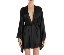 Azalea Black Stretch Silk Satin and Leavers Lace Short Kimono Robe