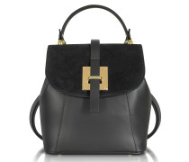 Black Suede and Leather Small Backpack