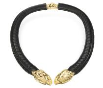 Serpent Halskette aus Leder in schwarz und gold