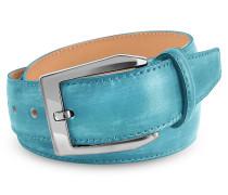 Herrengürtel aus italienischem Leder von Hand gefärbt in himmelblau