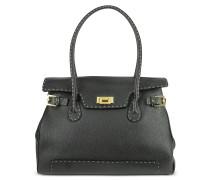 Grosse Handtasche aus Leder mit aufgesetzten Nähten in schwarz