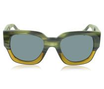 BA0011 65V Damen-Sonnenbrille aus Acetat in grün & gelb