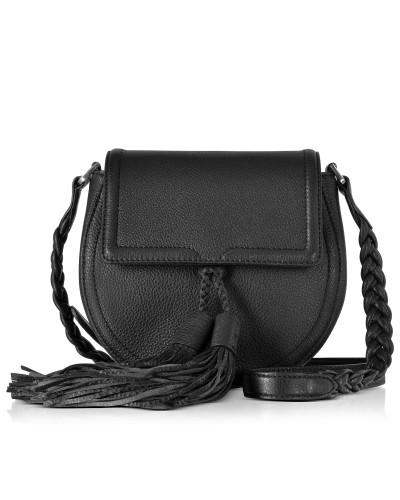 Isobel Satteltasche aus schwarzem Leder mit Troddeln