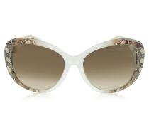 Temoe 727S 27F Sonnenbrille mit Schlangenmuster in transparent und Malve