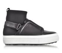 Slider Fusion Black Neoprene and Leather Sneaker