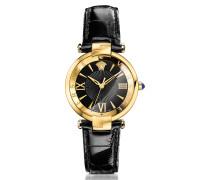 Revive 3H Damenuhr aus vergoldetem PVD mit krokogeprägtem Armband