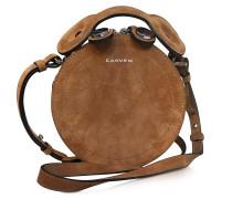Saint Sulpice runde Handtasche aus Wildleder in cognacfarben