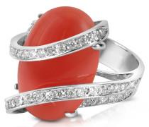 Ring aus 18k Gold mit roter Koralle und Diamantenreihe