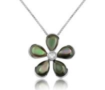 Halskette aus 18k Gold mit Blume aus Edelsteinen und Diamant