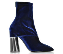 Kyoto Royal Blue Velvet Stretch High Heel Ankle Boots