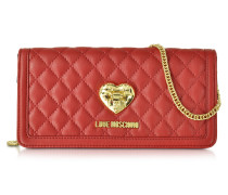Red and Black Quilted Wallet On Chain