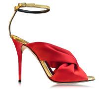 Angelica High Heel Sandale aus Satin in Mohnrot