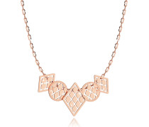 Melrose Rose Gold Over Bronze Necklace w/Five Geometric Charms
