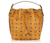 Small Cognac Signature Visetos Original Drawstring Bucket Bag
