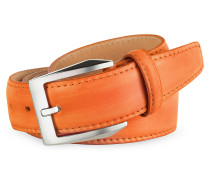 Herrengürtel aus handgefärbtem italienischem Leder in orange