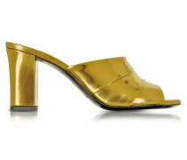 Laminated Leather High Heel Sandal