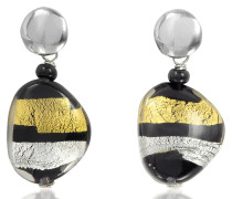 Moretta Pastel Glass Beads w/24kt Gold and Silver Leaf Earrings