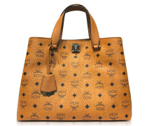 Large Cognac Signature Visetos Original Tote