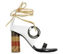 Sandale in schwarz-weiß mit Lederbändern