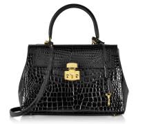 Glänzende schwarze Lederhandtasche im Kroko-Stil