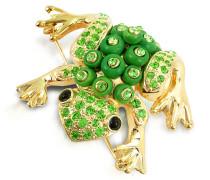 Grüner Frosch - Vergoldete Brosche mit Swarovskisteinen