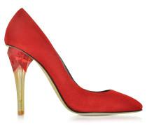 Pia High Heel Pumps aus Wildleder in rot mit durchsichtigem Absatz