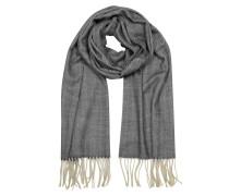 Herringbone langer Schal aus Kaschmir Wolle und Seide mit Fransen
