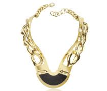 Vergoldete Halskette aus Brass und Leder
