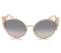 Menkalinan 890S 28F Sonnenbrille in Cat Eye Form aus golfarbenem Metall