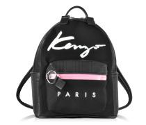 Kenzo Paris Signature kleiner Rucksack aus Canvas in schwarz und perforiertem Textilleder