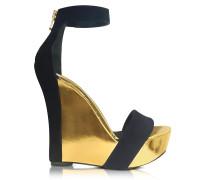 Samara Black Suede and Gold Metallic Leather Wedge Sandal