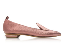 Beya Dusty Pink Metallic Tumbled Leather Loafer
