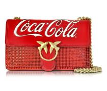 Love Cioccolato Schultertasche aus rotem Leder mit goldener Kette