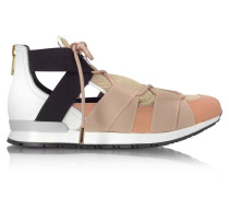 White Leather and Multicolor Elastic Bands Sneakers