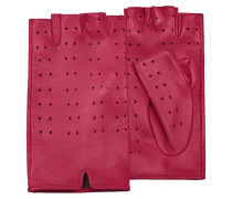 Women's Red Perforated Fingerless Leather Gloves