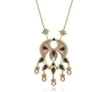 Lange Halskette aus Emaille mit bunten Kristallen