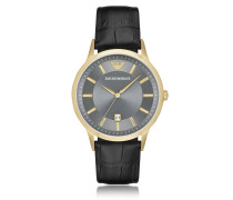 PVD Herren-Quartz-Armbanduhr aus goldfarbenem Edelstahl mit Lederarmband mit Krokoprägung