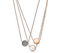 Halskette mit dreifachen Anhängern mit Logo und Kristallen